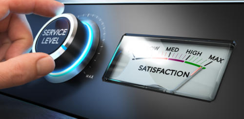 customer satisfaction dial filled up to max level