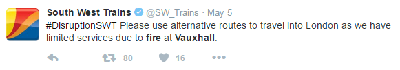 tweet from sw trains