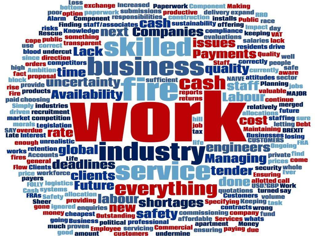 Word cloud: work is one thing that those in the fire industry mention often
