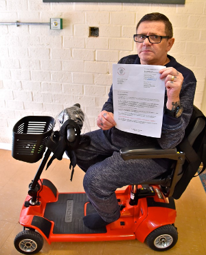 William Mort and his mobility scooter
