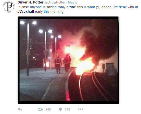 fire on tracks of vauxhall station