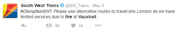 tweet from sw trains