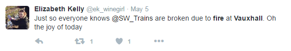 oh the joy of disrupted trains tweet