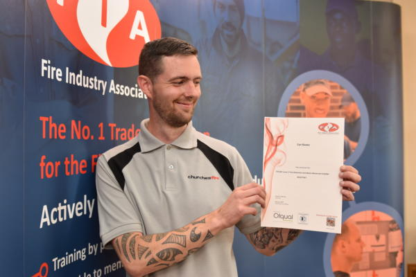Image: Carl Baxter from Churches Fire is one of the first people to achieve a qualification from FIA