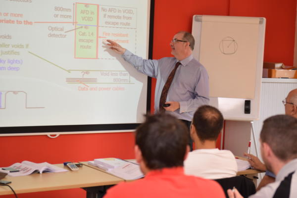 Image: Trainer and Technical Manager Will Lloyd stands teaching the class