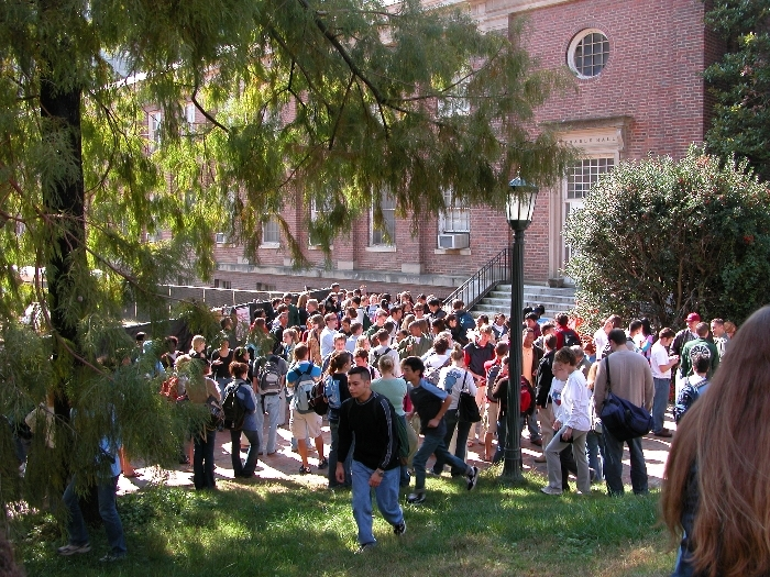students waiting outside university halls after fire drill